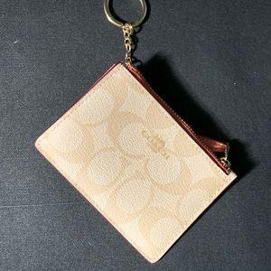 COACH Mini Skinny ID case in Dusty Rose/gold/tan